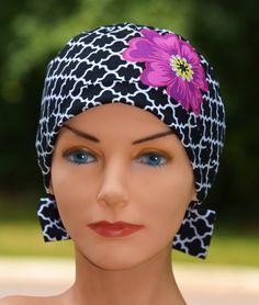 The Mini with Fabric Ties Scrub Hat Chemo Cap by thehatcottage (Accessories, Hats & Caps, scrub hats, chemo caps, headband, bandana, scarf, hair, women, skullcap, royal blue, floral, paisley, fuchsia, cyber monday etsy)