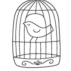 free bird cage coloring page