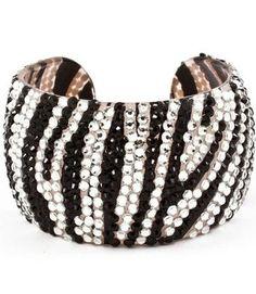 "WOW!!! Celebrity Style Zebra, Leopard Animal Print Crystal & Rhinestone Handmade Plastic Open Bangle 2"" Wide & Lightweight by Jersey Bling (Zebra)"