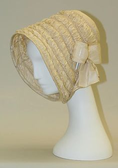 Bonnet  Date:     1840–59 Culture:     American Medium:     silk Dimensions:     [no dimensions available] Credit Line:     Gift of Mrs. Frederick Street Hoppin, 1963 Accession Number:     C.I.63.7.7