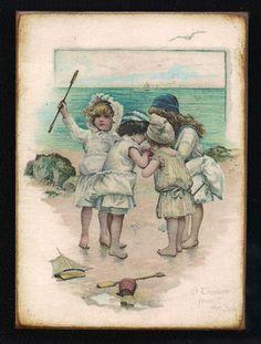 Wood Block  Children Ocean Toy Boat Vintage by MyFathersHouse4, $6.00 Vintage Postcards, Vintage Images, Baby Illustration, Victorian Art, Vintage Greeting Cards, Retro, Vintage Children, Vintage Prints, Art Drawings