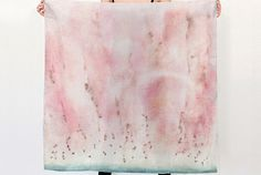 Silk scarf made of silk habotai fabric Based on my abstract watercolor painting Watermelon Rain. Finished with machine rolled baby Abstract Watercolor, Watercolor Paintings, Soft Summer, Watermelon, Salmon, Marie, Chiffon, Fine Art, Silk
