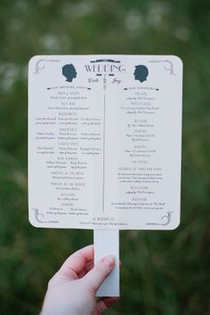ceremony programs with silhouettes of the bride and groom // photo by ArrowandApple.com