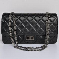 Chanel 2.55 1113 Black Lambskin Coco Bags Gun Chain - Dobestbuy