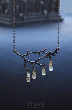 Bronze Branch Citrine Necklace  Sunshower Boho pendant