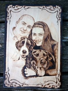 young couple and their favorites pyrography