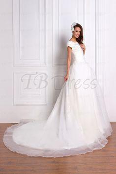 Luxurious A-line, Princess Square Neck, Short-Sleeve Chapel Dress   Renata's Wedding Dress