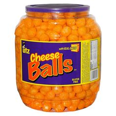 Utz Cheese Balls Barrel, 23 Ounce Utz Cheese Balls, 23 oz Barrel Gluten Free, Trans Fat Free Produced in the U. Made with Real Cheese Bacon Ranch Cheese Ball Recipe, Cheese Ball Recipes, Chop Suey, Cheap Clean Eating, Clean Eating Snacks, Cheese Puffs, Cheddar Cheese, Gourmet Recipes, Snack Recipes