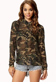 Camo Print Chiffon Shirt | FOREVER21 - 2030187125  Just bought this shirt today! Super cute