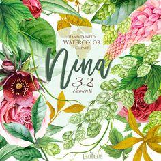 Watercolor Wedding Flowers, Peonies, Roses, Green Hop, Boho Clipart floral…