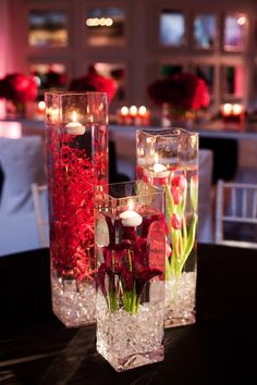We did ths w/ purple flowers on the tables at our wedding. It was beautiful! Modern Engagement Party - outdoor