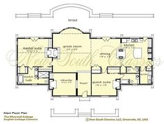 storybook cottage house plan.  love open double bar to kitchen/dining and double fireplace for master/living rooms.