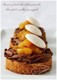 Sensation Mogador et partenariat gourmand! sablé breton,ananas roti au sirop de vanille et ganache chocolat au lait fruit de la passion