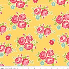 October Afternoon Fabric- Sidewalks - Floral in Yellow