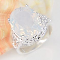 European Style Top Sale Oval Rainbow Moonstone Gemstone Silver Woman Ring Size 7 | Jewelry & Watches, Fashion Jewelry, Rings | eBay!