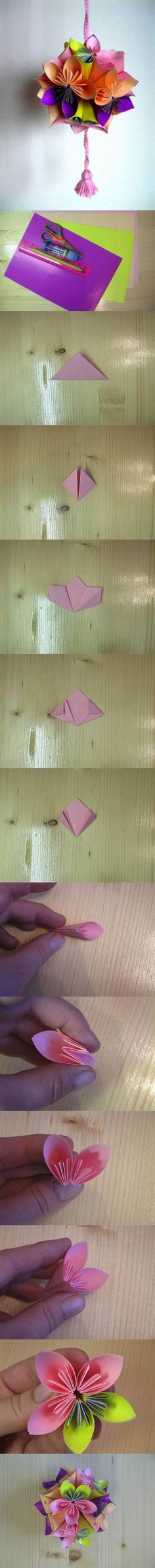 DIY Origami Paper Flower Ball | iCreativeIdeas.com LIKE Us on Facebook ==> https://www.facebook.com/icreativeideas