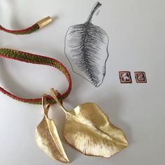 Hand-satinized Leaves pendants. Charlotte Lynggaard / Ole Lynggaard Copenhagen