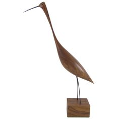 Hand Carved Teak Sculpture of a Wading Bird, ca. 1960s
