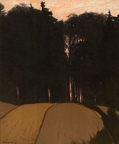 Gustav Kampmann (All. 1859-1917), Soirée d'automne, 1900, lithographie en couleurs sur papier vélin, 45,3 x 37,1 cm, Ottawa, Musée des Beaux-arts du Canada