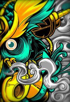 Illustrations Discover MECHANICAL VAPOWL great example of cel shaded style plenty of detail Wallpaper Gamer, Graffiti Wallpaper, Graffiti Art, Graphic Design Posters, Graphic Art, Samurai Artwork, Japanese Tattoo Art, Dope Art, Japan Art