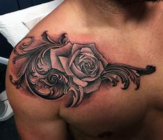 Rose Flower With Filigree Detail Mens Shoulder Tattoo Ideas