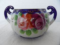Image detail for -Nippon Cobalt Blue and Roses Sugar Bowl from chubbycherub on Ruby Lane