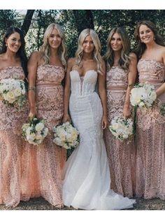 1c46d45c4a0 Chic Trumpet Mermaid Strapless Pink Lace Bridesmaid Dresses Prom Dress  AMY2040 Mermaid Bridesmaid Dresses