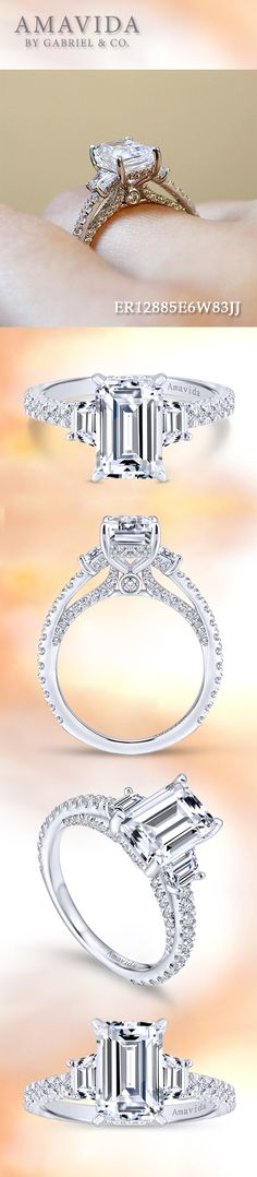 Amavida by Gabriel & Co. - Voted #1 Most Preferred Bridal Brand.  Dazzling emerald cut diamonds blanket the scalloped band of this sleek modern three stone engagement ring,