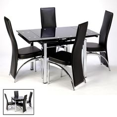 Paris Extending Black Dining Table And Chairs £349.95 for the whole set budget set dining table and chairs.#christmasdining .