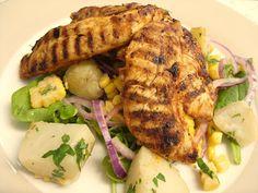 Smoky Chicken with warm corn & potato salad. Around 350cal per portion and so good!