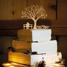Rustic Wedding Cake Topper Personalized por CAKETOPPERHOUSE