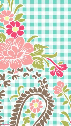 Green pink gingham floral phone iphone wallpaper background lock screen