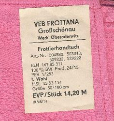 DDR Museum - Museum: Objektdatenbank - Frottierhandtuch     Copyright: DDR…