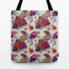 TROPICAL FLORAL PASSION Tote Bag by Nika  - $22.00 #tote #bag #tropical #flowers #floral #pattern #girl #girly #cute #bohemian #trendy #totebag #society6 #nika martinez