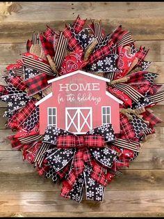 Christmas Door Decorations, Holiday Wreaths, Farmhouse Christmas Decor, Rustic Christmas, Wreaths For Front Door, Door Wreaths, Wooden Centerpieces, Barn Signs, Wreath Making Supplies