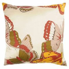 "Pillow with a multicolor butterfly motif.       Product: Pillow Construction Material: Cotton slub cover   Color: Paprika and cream    Features: Printed butterfly pattern Insert included Dimensions: 18"" x 18""   Cleaning and Care: Machine wash on gentle cycle with mild detergent.  Lay flat to dry."