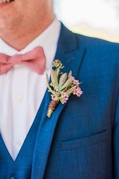 This bright blue suit and pale pink bowtie has coastal charm and elegance. Blue Suit Blue Shirt, Blue Suit Black Shoes, Blue Suit Grey Waistcoat, Mens Light Blue Suit, Blue Suit Outfit, Dark Navy Blue Suit, Cobalt Blue Suit, Bright Blue Suit, Midnight Blue Suit