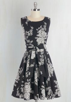 Girl Meets Twirl Dress. It was a wonderfully chance meeting that you and this black-and-white design found each other, as you were looking for the perfect dress to turn and twirl in! #gold #prom #modcloth