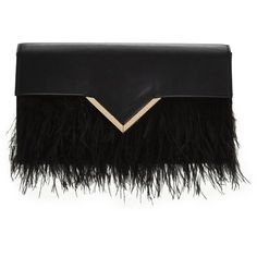 Feather Trim Clutch ($44) ❤ liked on Polyvore featuring bags, handbags, clutches and flapper purse