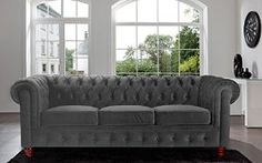 Amazon.com: Classic Velvet Scroll Arm Tufted Button Chesterfield Style Sofa - Black, Red, Grey, Purple (Grey): Kitchen & Dining