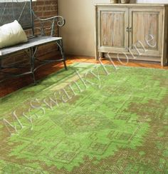 8 x 10 Hand Knotted GREEN Wool OUSHAK Rug NEIMAN MARCUS Contemporary Turkish #Transitional