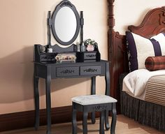 SEN113 - Măsuță neagra de toaletă - livrare gratuită în România - http://www.emobili.ro/cumpara/sen113-set-masa-neagra-toaleta-cosmetica-machiaj-oglinda-masuta-cu-4-616 #eMobili
