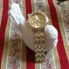 New Multi Function Gold Tone Watch Rhinestones