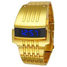 b4f9770932b1 Barato Reloj Digital de oro Led de acero completo de moda para hombre  relojes deportivos 2017