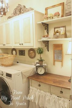 Many items are all working together - dresser with skirt across front, metal shelf brackets, items hung above the washer & dryer love it all!