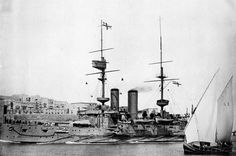 HMS Implacable at Malta in 1908; Formidable-class battleship, 15,000 ton, 1902(c), 4-12in guns, 18kts, 780 crew, Dardanelles 1915.  Main location:   Aug 1914-Aug 1917, Mediterranean, East Indies Station.   Sold in 1921.