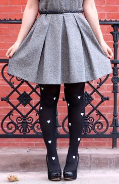 DIY Patterned Heart Tights.