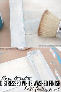 How to get a distressed white washed finish with this chalky paint | www.thepinningmama.com | #paint #chalkpaint #distressed #shabby