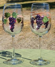 Handpainted Grape Vines on Wine Glasses set of by CreationsonGlass, $21.00