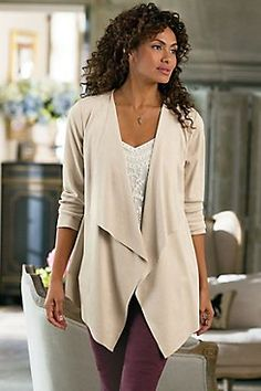 Ultra Soft Cardi  Deliciously soft micro-suede cardi offers a chic top layer in a contemporary shape. With an open front cascading to a point hem, plus clean laser cut edge de